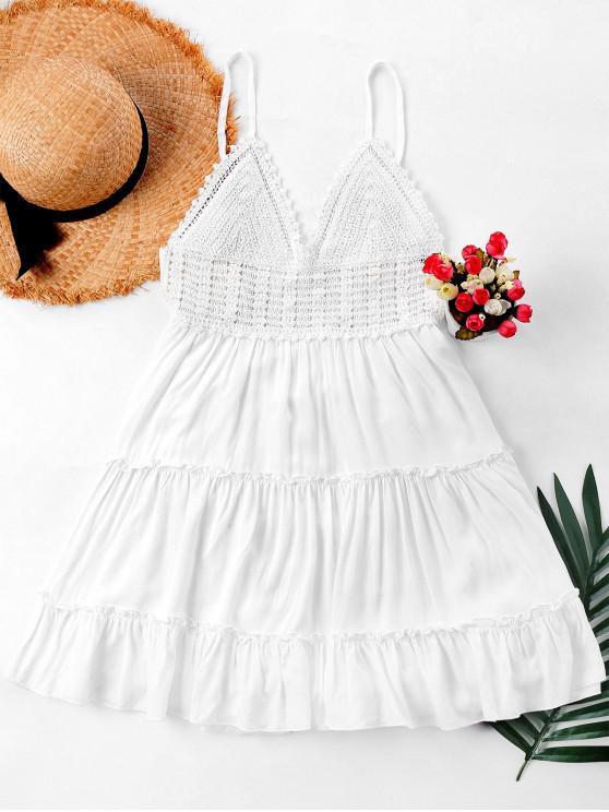 hot Crochet Panel Cami Flare Dress - WHITE S