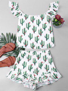 Cacti Print Ruffles Shorts Set - White L