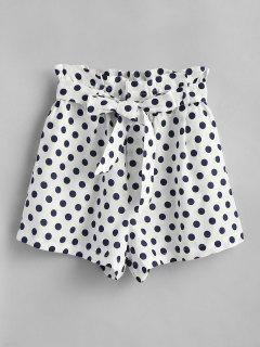 Polka Dot High Waisted Shorts - White L