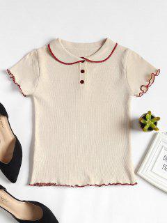 Contrast Peter Pan Collar Knit Tee - Apricot