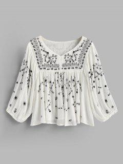 Knopf Bestickte Bluse - Weiß M