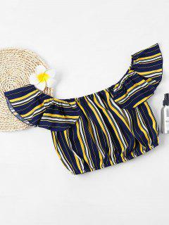 Stripe Off Shoulder Flounce Crop Top - Deep Blue L