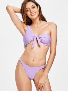 Knoten Ein Schulter Bikini-Set - Mauve S