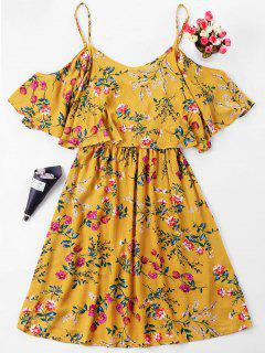 Floral Print Overlay Slip Dress - School Bus Yellow L