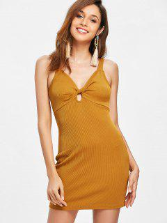Ribbed Twist Bodycon Dress - Light Brown S