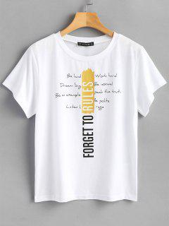 Round Neck Letter Graphic Tee - White S