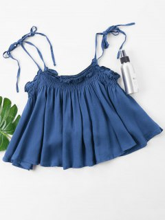Smocked Cami Top - Denim Dark Blue M