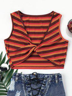 Plunge Twist Stripe Crop Top - Red L