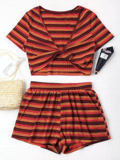 Plunge Stripe Twist Shorts Set - Red L
