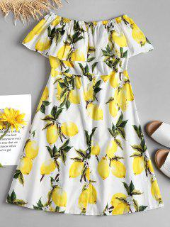 Lemon Ruffle Off The Shoulder Midi Dress - White L