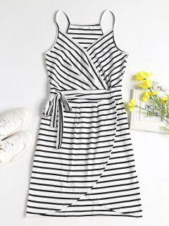 Striped Faux Wrap Mini Dress - White S
