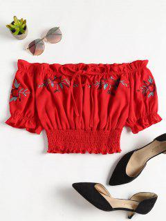 Off Shoulder Shirred Top - Rojo M