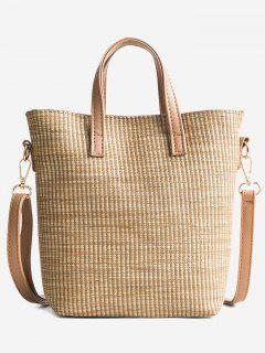 Travel Vacation Leisure Straw Tote Bag - Light Khaki