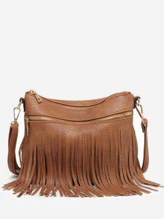 Fringe PU Leather Chic Crossbody Bag - Brown