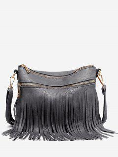 Fringe PU Leather Chic Crossbody Bag - Gray