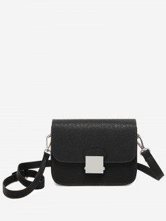 Minimalist Chic Flapped Crossbody Bag - Black