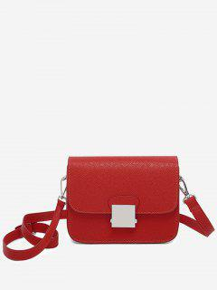 Minimalist Chic Flapped Crossbody Bag - Red