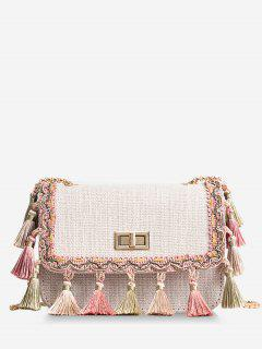 Tribal Tassels Color Block Crossbody Bag - White