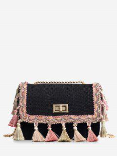 Tribal Tassels Color Block Crossbody Bag - Black
