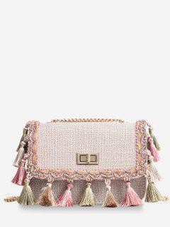 Tribal Tassels Color Block Crossbody Bag - Light Khaki