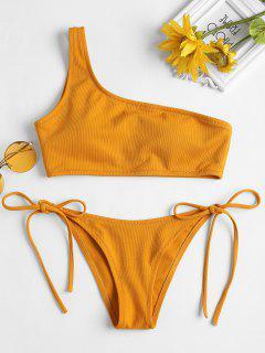 Bikini De Un Hombro Con Textura Lateral Con Lazo - Oro Anaranjado S