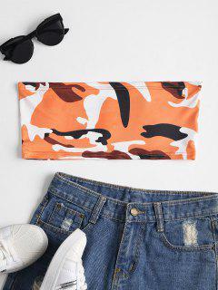 Camo Imprimé Bandeau Tube Haut - Orange Sombre S