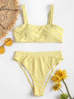 Herz Druck Hoch Taillierte Bikini-Set - Gelb L