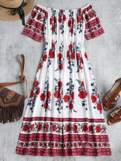 Floral Print Off Shoulder Dress - Multi S