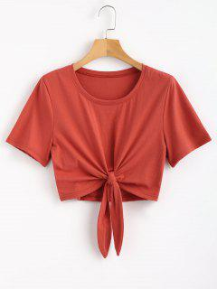 Knotted Hem Tee - Chestnut Red M
