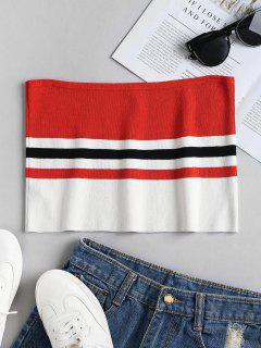 Knit Striped Bandeau Tube Crop Top - Multi M