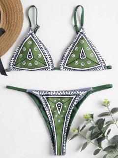 Geometrischer Druck String Bikini Set - Gift Grün S