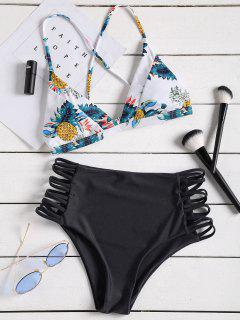 Tropical Printed Strappy High Waisted Bikini Set - Black L