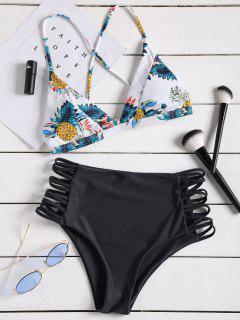 Conjunto De Bikini De Talle Alto Estampado Tropical Con Tiras - Negro S