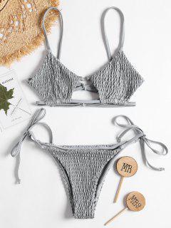 Keyhole Smocked String Bikini - Light Gray M