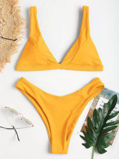 Plunge High Leg Bikini - Mustard L