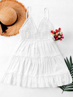 Robe Évasée Avec Bretelles Fines Avec Empiècement Au Crochet  - Blanc M