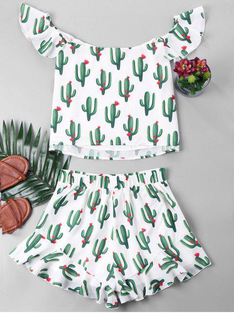 Ensemble Top et Short à Cactus à Volants - Blanc XL Mobile