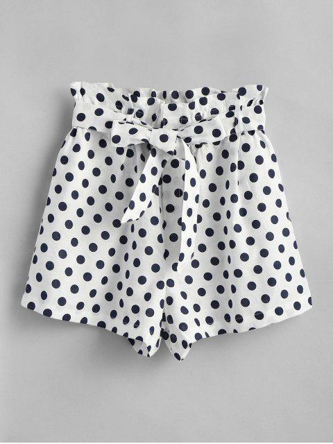 Polka Punkt Hoch Taillierte Shorts - Weiß M Mobile