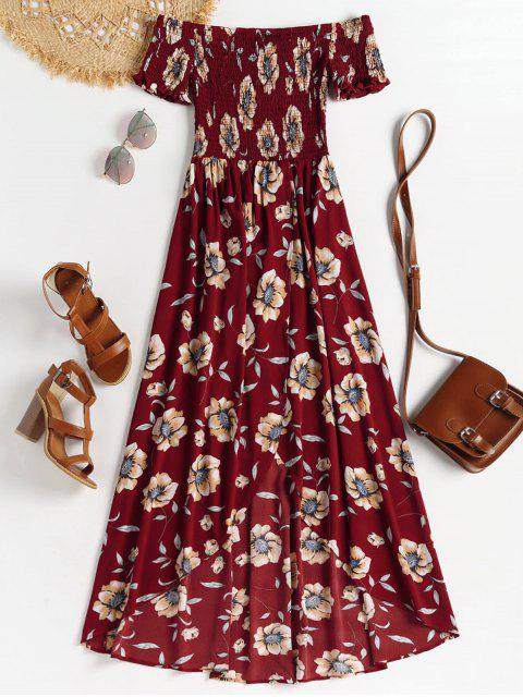 Robe Longue Smockée à épaules Dénudées - Rouge Cerise S Mobile