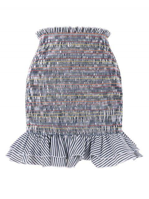 fancy Striped Smocked Mermaid Skirt - GRAY CLOUD L Mobile