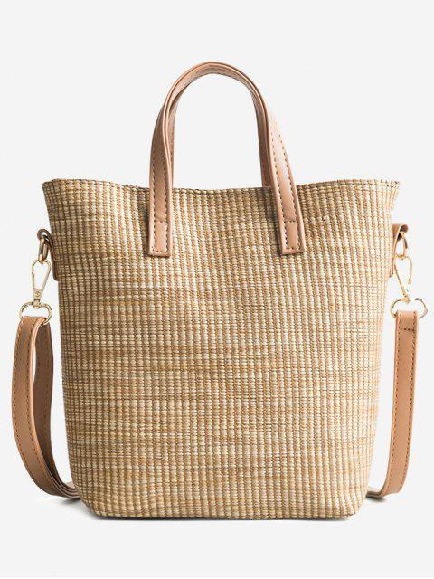 ladies Travel Vacation Leisure Straw Tote Bag - LIGHT KHAKI  Mobile