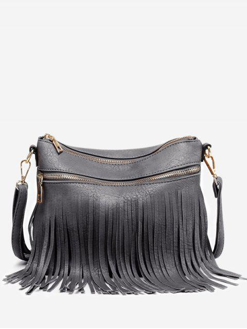 Fringe PU cuero Chic Crossbody Bag - Gris  Mobile