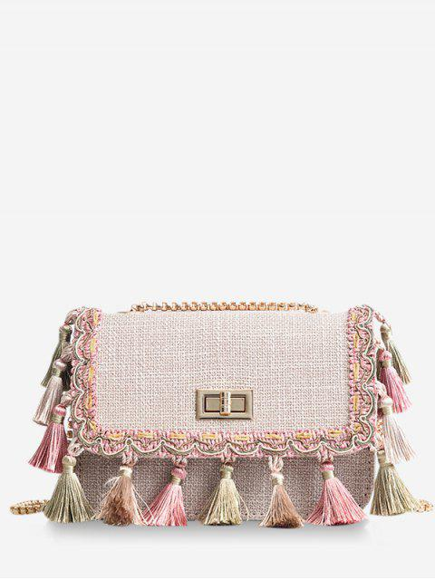 Tribal Tassels Color Block Bolso bandolera - Caqui Claro  Mobile