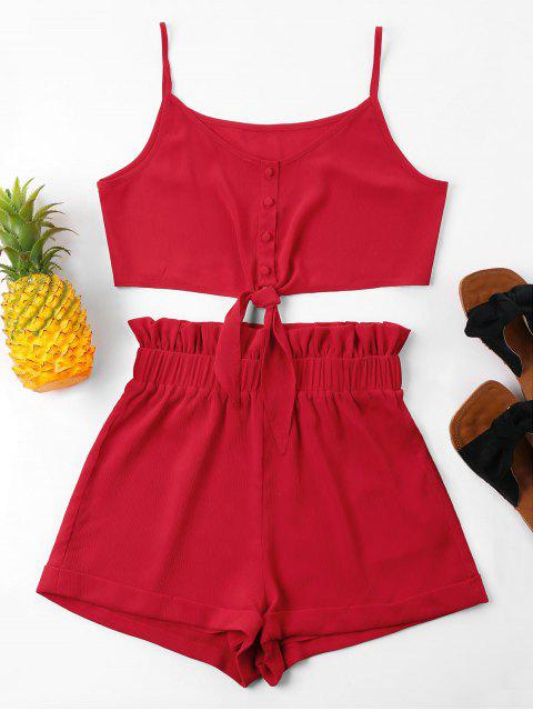 chic High Waisted Knot Cami Shorts Set - RED S Mobile