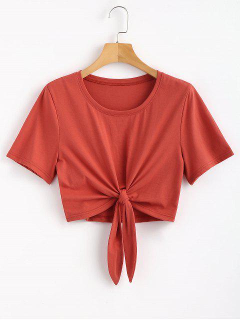 Camiseta con dobladillo anudado - Castaño Rojo M Mobile