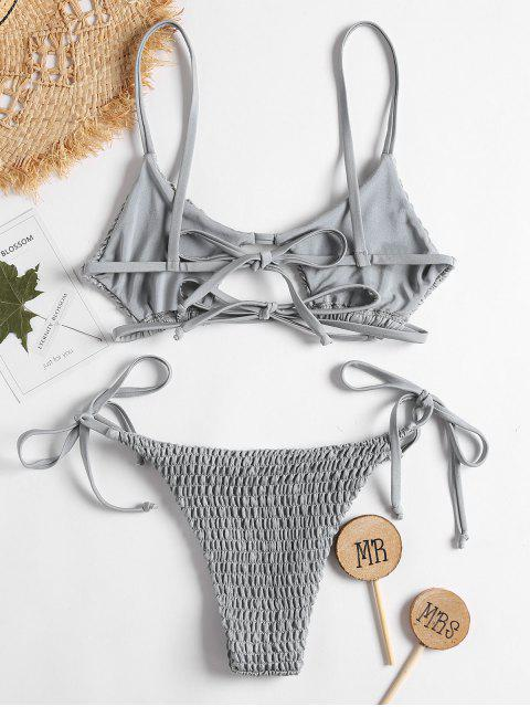 hot ZAFUL Keyhole Smocked String Bikini - LIGHT GRAY S Mobile