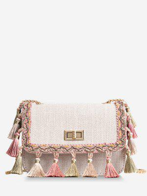 Tribal Tassels Color Block Crossbody Bag