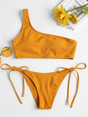 Tie Side Textured One Shoulder Bikini - Orange Gold S