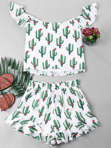 Pantalones Y Conjunto Con Cactus De Blanco S Volados De Cortos Estampado XCX5aHqx