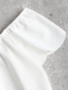 Hombro De L Festoneado Pantalones Blanco Conjunto Cortos qA18H
